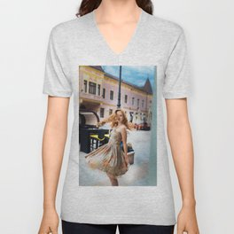 Beautiful redhead girl wearing a vintage dress walking in the city Vinkovci Unisex V-Neck