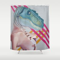 queer Shower Curtains featuring Queer Dinosaur by Kim Leutwyler