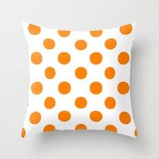 Polka Dots (Orange/White) Throw Pillow