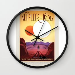Kepler-16b - NASA Space Travel Poster Wall Clock