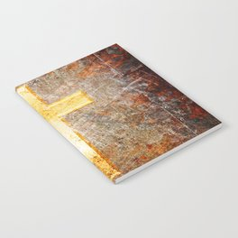 Gold Cross on Rusted Metal Plate Notebook