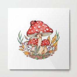 Watercolor Mushrooms Metal Print