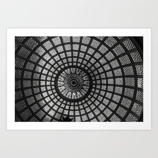 Tiffany Glass Dome Black/White Photography Art Print