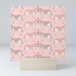 Kawaii Dogs In Love Pattern Mini Art Print