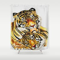tigers Shower Curtains featuring Tigers by DrewzDesignz