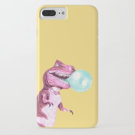 Bubble Gum Pink T-rex in Yellow iPhone Case
