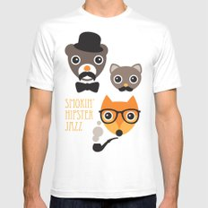 Hipster mustache animal jazz illustration design Mens Fitted Tee White MEDIUM