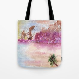 A New World Watercolor Art Illustration Tote Bag