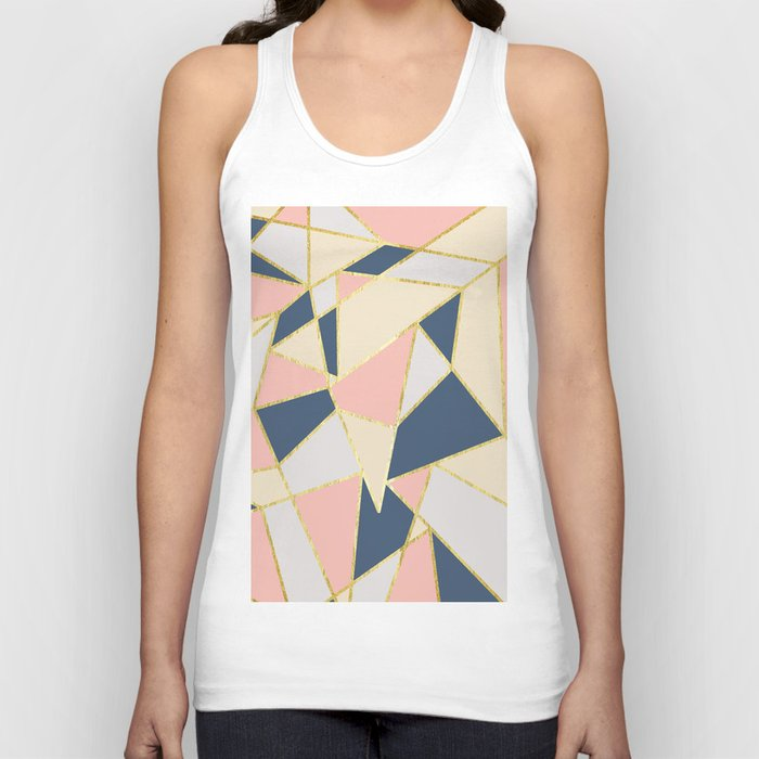 Girly Geometric Triangles with Faux Gold Unisex Tanktop