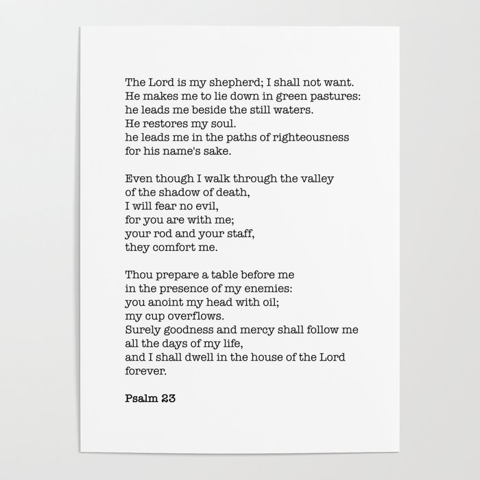Psalm 23 Bible Verse Print The Lord Is My Shepherd Poster By Socoart Society6