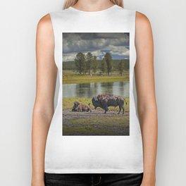 Buffalo by Yellowstone River Biker Tank
