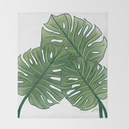 Large Monstera Leaf in Moss Green Throw Blanket