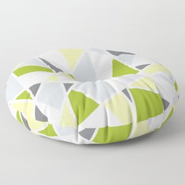 Geometric Pattern in Lime, Yellow, Gray Floor Pillow