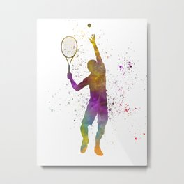 Tennis player in watercolor 08 Metal Print