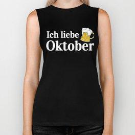 I Love October Funny Oktoberfest German Beer Biker Tank