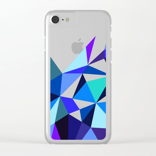 Wooden Geo Blue Clear iPhone Case