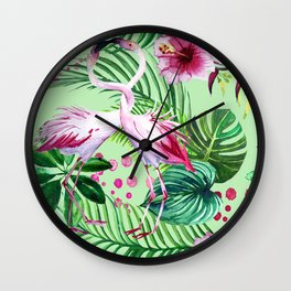 seamless pattern watercolor pink flamingo flowers and tropical leaves Wall Clock