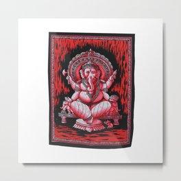 Vintage art Cotton Fabric Lord Ganesha Red Wall Hanging Metal Print