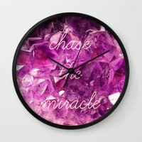 minerals Wall Clocks featuring chase the miracle on minerals by mb13