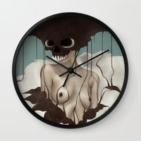 death Wall Clocks featuring Death By Chocolate by Ruben Ireland