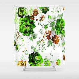 ROSES GREEN AND BROWN Shower Curtain