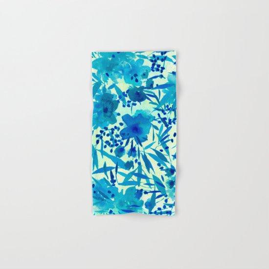 blue pretty flowers  https://society6.com/clemm?promo=X9B3VVZDM7J6 Hand & Bath Towel