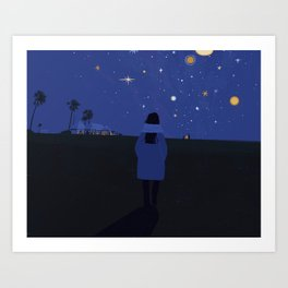 San Camp, Makgadikgadi, Botswana, at night Art Print