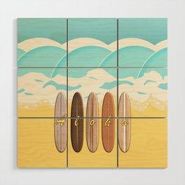 Aloha Surf Wave Beach Wood Wall Art