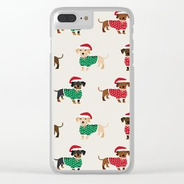 Dachshund christmas sweater holiday santa hat doxie dachsie lovers Clear iPhone Case
