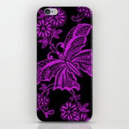 Lace Butterflies Dazzling Violet iPhone Skin