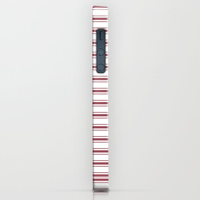 Dark Red Pear Mattress Ticking Wide Striped Pattern - Fall Fashion 2018 iPhone Case
