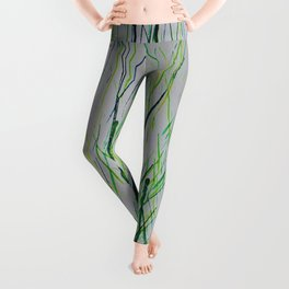 Grassy Green: Abstract Melted Crayon Art Leggings
