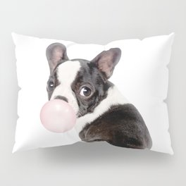French Bulldog Puppy Blowing Pink Bubble Gum (sw) Pillow Sham