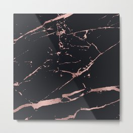 Back and rose-gold faux marble Metal Print