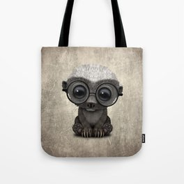 Cute Nerdy Honey Badger Wearing Glasses Tote Bag