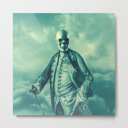 Lord Bonehead VINTAGE GREEN / Skeleton portrait Metal Print