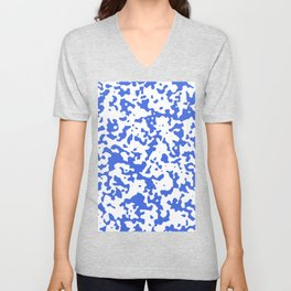 Spots - White and Royal Blue Unisex V-Neck