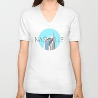 nashville V-neck T-shirts featuring NASHVILLE by Lauren Jane Peterson