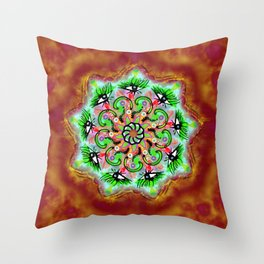 Spider Eye Mandala - Red BG Throw Pillow
