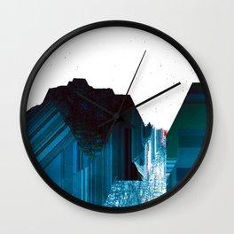 Glitch Valley Blue Wall Clock
