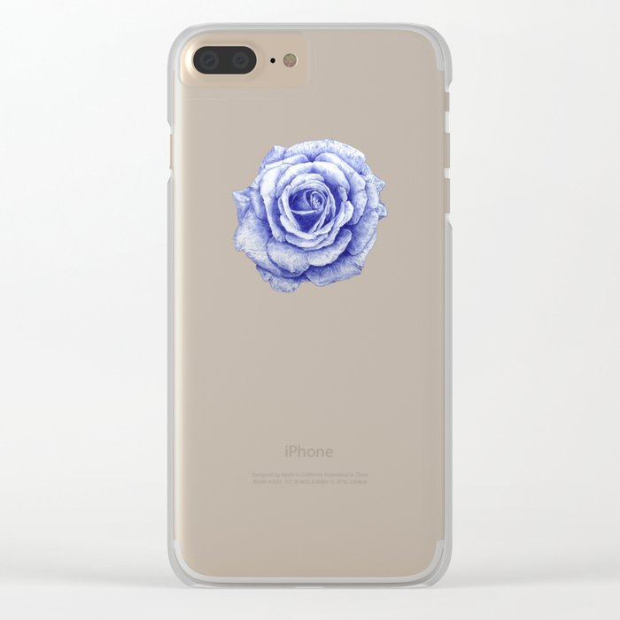 Ballpoint Blue Rose Clear iPhone Case