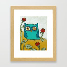 Turquoise Owl and Poppies Framed Art Print