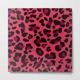 leopard print pink modern home design Metal Print