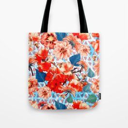 Geometric Flowers and Bees Tote Bag