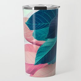 Pink and Blue Leaf Travel Mug