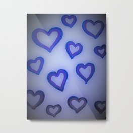 Blue Glow Hearts Metal Print