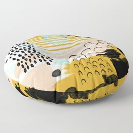 Ames - Abstract painting in free style with modern colors navy gold blush white mint Floor Pillow