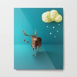 Low Poly Reindeer Metal Print