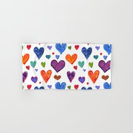 Colorful hearts. Festive background of watercolor hearts! Hand & Bath Towel