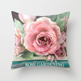 Roses Pink Peach Romantic Rose Flowers Gardening Decor Throw Pillow